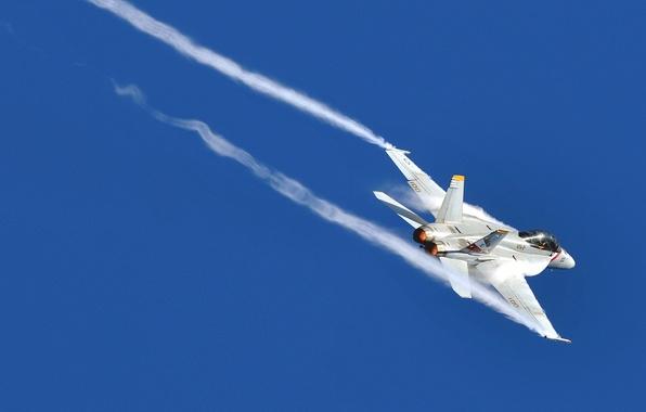 Картинка небо, самолет, след, штурмовик, F/A-18, истребитель-бомбардировщик, Hornet, McDonnell Douglas