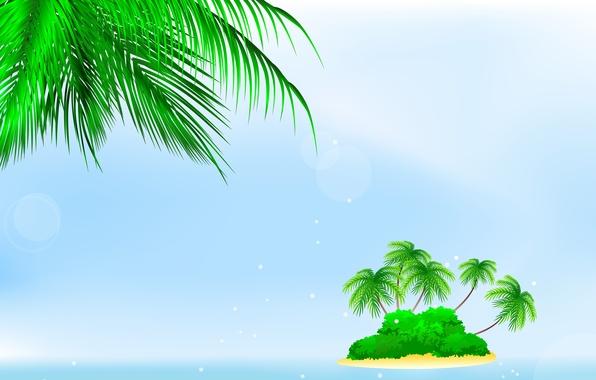 Картинка море, пальмы, остров, кусты, bushes, palm trees, sea island