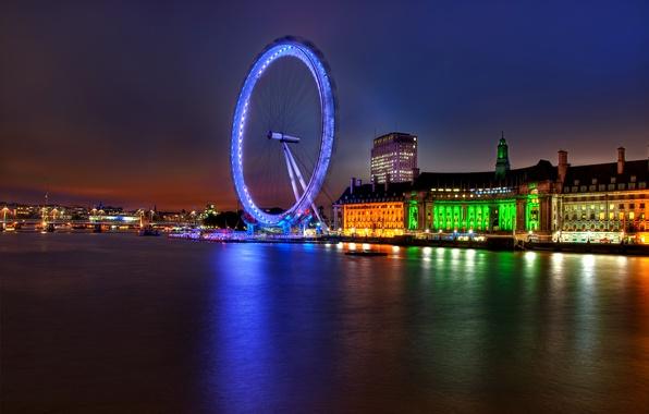 Картинка огни, река, Англия, Лондон, здания, вечер, подсветка, Великобритания, Темза, архитектура, river, столица, London, England, London …
