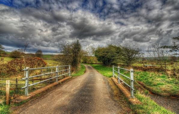 Картинка дорога, пейзаж, мост, HDR