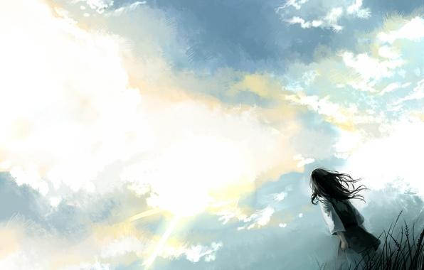 Картинка небо, трава, облака, девочка