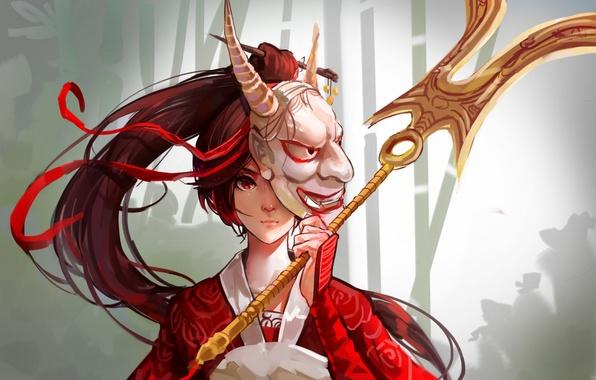 Картинка девушка, аниме, воин, маска, арт, лента, рога, mconch