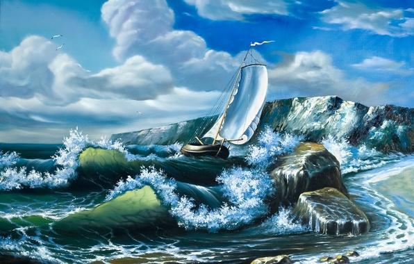 Картинка море, волны, небо, облака, корабль, чайки, картина, паруса, живопись, маслом