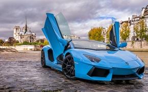 Картинка Lamborghini, Paris, Blue, Aventador