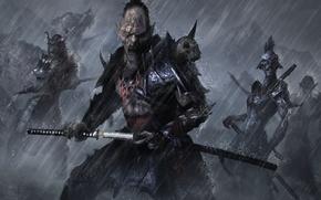 Картинка дождь, меч, арт, Orc, katana, Samurai