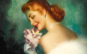 Картинка цветок, взгляд, спина, макияж, прическа, перчатки, живопись, холст, Edward Runci