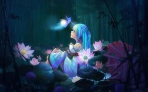 Картинка девушка, цветы, дождь, крылья, аниме, фея, арт, sunmomo