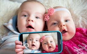 Картинка дети, фото, телефон, малыши, смартфон, baby, kid, Infants