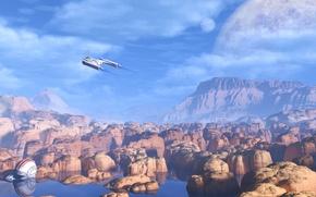Картинка небо, вода, облака, планета, шлем, полёт, red rocks