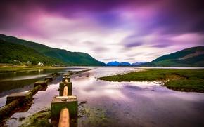 Картинка небо, река, холмы, долина, Шотландия, Великобритания, леса, фиолетовое