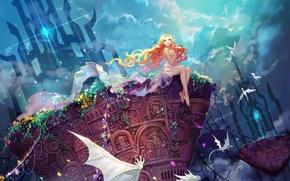 Картинка небо, девушка, облака, цветы, растения, драконы, аниме, арт, сидит, asuka