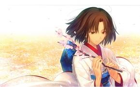 Картинка ветка, лепестки, сакура, кимоно, kara no kyoukai, сад грешников, the garden of sinners, shiki ryougi