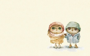 Картинка настроение, сова, мальчик, арт, девочка, прогулка, детская, совушка, Inga Paltser, Ингa Пальцер