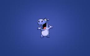 Картинка животное, минимализм, бегемот, синий фон, радостный