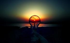 Картинка солнце, рассвет, лампочка, закат