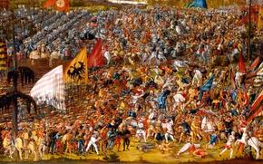Картинка масло, картина, битва, сражение, холст, войска, знамёна