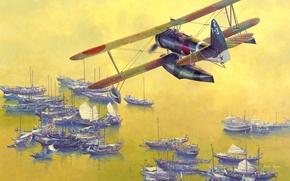 Картинка море, небо, вода, лодка, рисунок, арт, ВМФ, WW2, Японии, летающая, джонки, Nакаjima, E8N, разведывательная