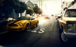 Картинка Car, Muscle, Yellow, Sun, Street, 302, Speed, Boss, San Francisco, Front, Mustang, Ford