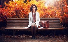 Картинка осень, Франция, fashion, шарфик, рыжеволосая, пальто, beauty, bordeaux, Lauriane