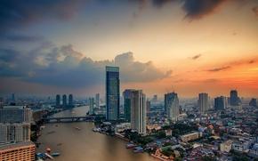 Картинка дорога, небо, облака, мост, city, город, река, здания, Таиланд, Бангкок, Bangkok