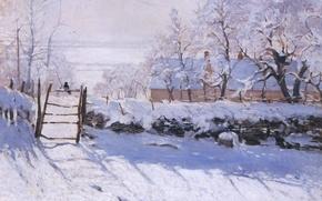 Картинка зима, снег, пейзаж, птица, картина, Claude Monet, Сорока, La Pie