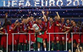 Картинка радость, футбол, победа, спорт, спина, команда, форма, Португалия, Cristiano Ronaldo, легенда, футболист, France, кубок, football, …