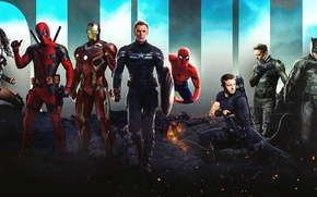 Картинка бэтмен, железный человек, дэдпул, человек паук, супергерои, росомаха, соколиный глаз, чудо женщина
