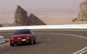 Картинка дорога, красный, скалы, долина, Alfa Romeo