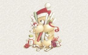 Картинка зима, настроение, праздник, рождество, арт, мишка, подарки, Новый год, шапочка, детская, Forever Friends Deckchair bear