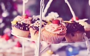 Картинка шоколад, клубника, пирожное, крем, сладкое, кекс