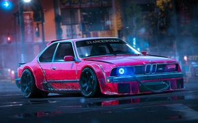 Картинка BMW, Red, Rendering, Stance, 1988, Works, by Khyzyl Saleem