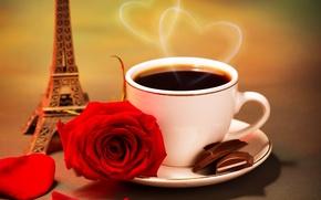 Картинка пар, чашка, сердце, сердечки, Эйфелева башня, кофе, красная, цветок, роза, дольки, блюдце, лепестки, шоколад, статуэтка