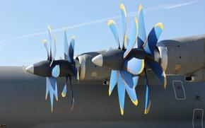 Обои корпус, самолёт, двигатели, лопасти, Ан-70