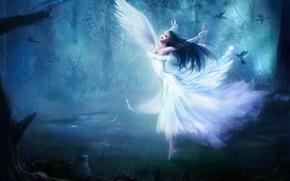 Обои птицы, девушка, крылья, ангел, танец, лес