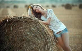 Картинка девушка, настроение, сено
