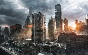 Обои солнце, тучи, город, восход, утро, арт, руины, постапокалиптика, jenovah-art