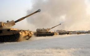 Обои выстрел, ствол, гусеницы, установка, самоходная, артиллерийская, САУ, AS 90, британская