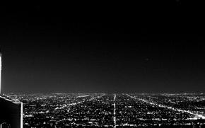 Картинка небо, пейзаж, ночь, огни, чёрно-белое, горизонт, панорама, улицы, лос-анджелес