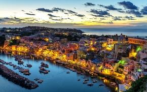 Картинка Procida Island, Коррицелла, остров Прочида, Corricella, Италия, Gulf of Naples, панорама, порт, море, Неаполитанский залив, ...