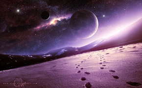 Картинка космос, снег, горы, арт, Планеты, QAuZ