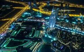 Картинка ночь, город, фото, дороги, сверху, Dubai, мегаполис, Объединённые Арабские Эмираты