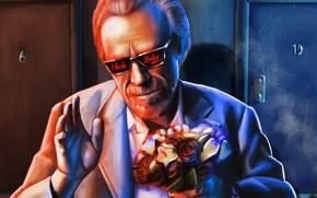 Обои цветы, Charles Bukowski, мужчина, очки, писатель, art