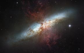 Картинка звезды, галактика, созвездие, M82, Большая Медведица, Сигара