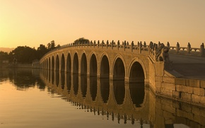 Картинка мост, река, Закат
