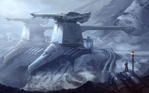 Картинка снег, горы, фантастика, станция, арт, by drawingnightmare, frozen fortress