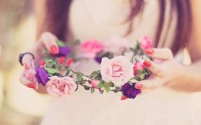 Картинка цветы, весна, happy, невеста, венок, свадьба, flowers, spring, lovely, wedding, bride, милые, wreath, счастливые