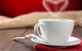 Картинка стол, чай, сердце, кофе, ложка, чашка, блюдце, салфетка
