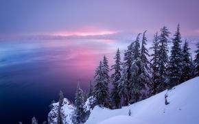 Обои озеро, снег, горы, зима