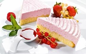 Обои strawberry, торт, food, cake, десерт, dessert, mint, сладкое, малина, raspberry, крем, клубника, чизкейк, cheesecake, еда, ...