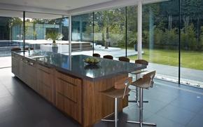 Картинка стекло, дизайн, дом, стиль, вилла, интерьер, жилое пространство/